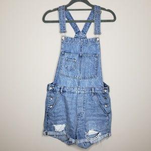 H&M &Denim Jean Shorts Overalls Distressed Size 6